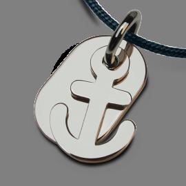 Medalla de bautismo POPEYE de plata 925 milésimas y cordón azul jeans de la colección de joyas para niños MIKADO.