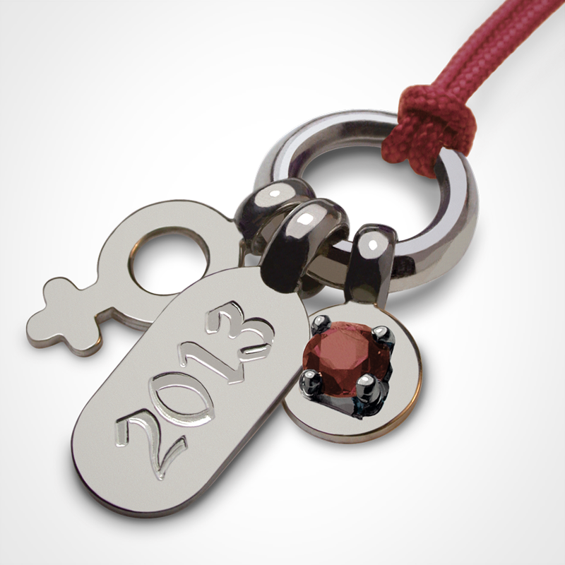 POGO GIRL garnet pendant in 750 white gold by the jewellery collection for children MIKADO.