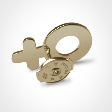 Alpa system of the SEX SYMBOL BOY pins in 750 yellow gold by the jewellery collection for children MIKADO.