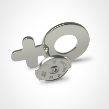 Alpa system of the SEX SYMBOL BOY pins in 750 white gold by the jewellery collection for children MIKADO.