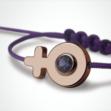 SEX SYMBOL GIRL amethyst bracelet in 750 pink gold and purple cord by the jewellery collection for children MIKADO.