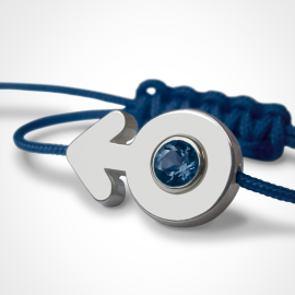 SEX SYMBOL BOY sapphire bracelet in 925 silver and blue cord by the jewellery collection for children MIKADO.