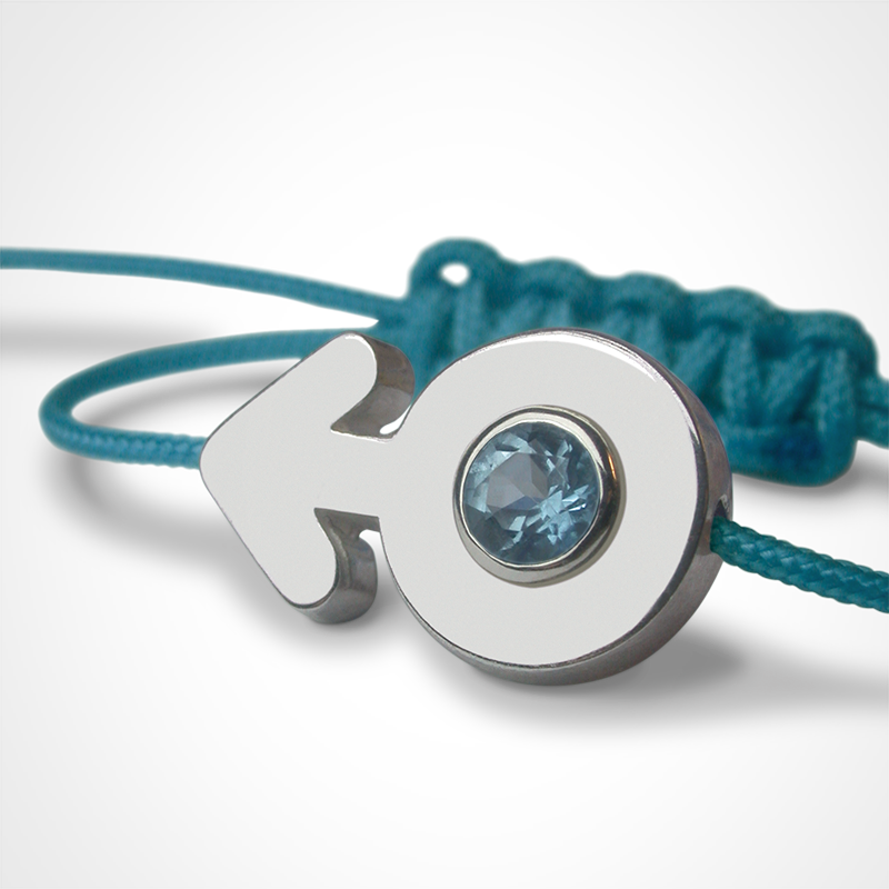 SEX SYMBOL BOY blue topaz bracelet in 925 silver and blue cord by the jewellery collection for children MIKADO.