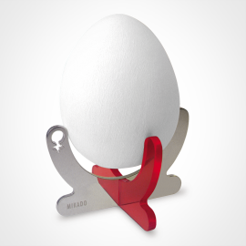 Taza de huevos COCO GIRL en plata esterlina 925 y plexiglás rojo de la colección de joyería infantil MIKADO.