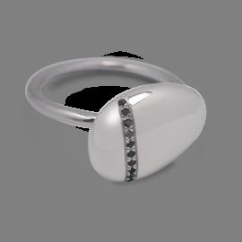 Bague galet Medium diamants noirs en argent 925 millièmes rhodié.
