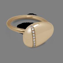 Bague galet Medium diamants blancs en or jaune 750 millièmes.