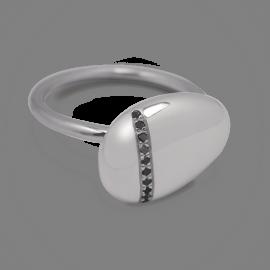 Bague galet Medium diamants noirs en or blanc 750 millièmes rhodié.