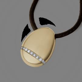 Pendentif galet medium diamants blancs en or jaune 750 millièmes sur cuir.