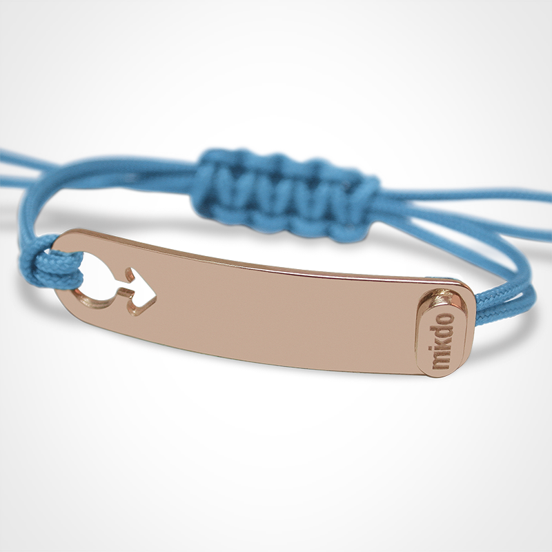 I AM A BOY identity bracelet in 750 pink gold and sky blue chord by the jewellery collection for children MIKADO.