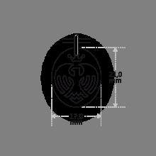 Dimensions du pendentif aiglon niçois de la collection de bijoux LA PLÀIA.