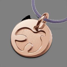 Médaille de baptême PALOMA en or rose 750 millièmes et cordon lavande de la collection de bijoux pour enfants MIKADO.