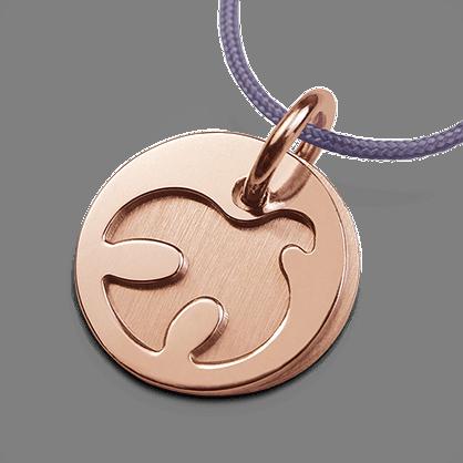 Medalla de bautismo PALOMA en oro rosa de 750 milésimas y cordón de lavanda de la colección de joyería infantil MIKADO.