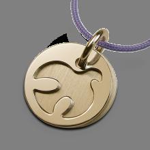 Médaille de baptême PALOMA en or jaune 750 millièmes et cordon lavande de la collection de bijoux pour enfants MIKADO.