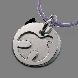 Medalla de bautismo PALOMA en plata 925 milésimas y cordón de lavanda de la colección de joyería infantil MIKADO.