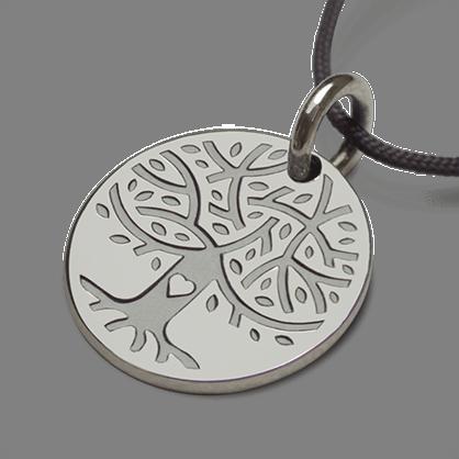 Medalla árbol de la vida LOVETREE en oro blanco 750 milésimas y cordón de la colección de joyas infantiles MIKADO.