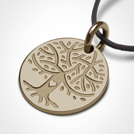 Medalla árbol de la vida LOVETREE en oro amarillo 750 milésimas y cordón de la colección de joyas infantiles MIKADO.