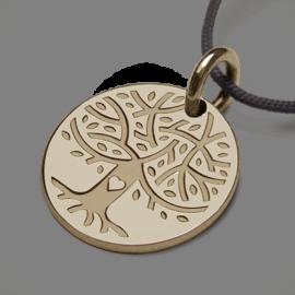 Médaille arbre de vie LOVETREE en or jaune 750 millièmes et cordon de la collection de bijoux pour enfants MIKADO.