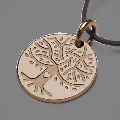 Médaille arbre de vie LOVETREE en or rose 750 millièmes et cordon de la collection de bijoux pour enfants MIKADO.
