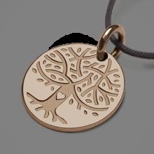 Medalla árbol de la vida LOVETREE en oro rosa 750 milésimas y cordón de la colección de joyas infantiles MIKADO.