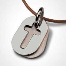 Baptismal pendant AMEN made of 925 sterling silver and pearl cord by the children's jewellery collection MIKADO.