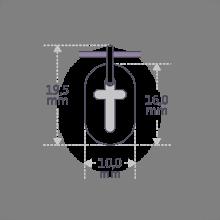 Dimensiones del colgante de bautizo de AMEN de la colección de joyas infantiles de MIKADO.
