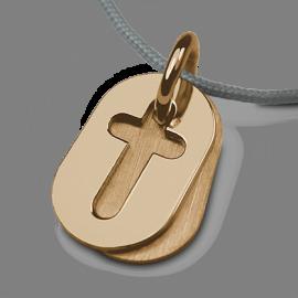 Colgante de bautismo AMEN de oro amarillo y cordón de perlas de la colección de joyas infantiles MIKADO.