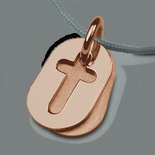 Pendentif de baptême AMEN en or rose 750 millièmes et cordon perle de la collection de bijoux pour enfants MIKADO.
