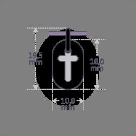 Dimensions du pendentif de baptême AMEN de la collection de bijoux pour enfants MIKADO.