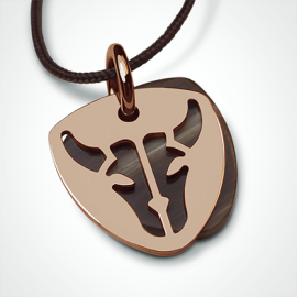 BUFFALO pendant in 18k pink gold and natural horn by the jewellery collection for children MIKADO.