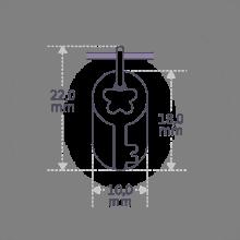 Dimensiones del colgante SÉSAME de la colección de joyería infantil MIKADO.