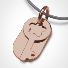 Baptism pendant SÉSAME in pink gold 750 thousandths and pearl cord from the MIKADO children's jewellery collection.