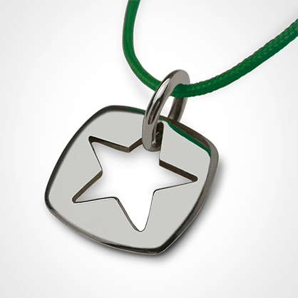 Pendant CHE in 925 sterling silver and green cord from the MIKADO children's jewellery collection.