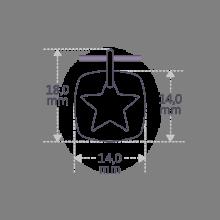 Dimensiones del colgante CHE en plata esterlina 925 de la colección de joyería infantil MIKADO.