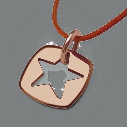 Pendentif CHE en or rose 750 millièmes et cordon mandarine de la collection de bijoux pour enfants MIKADO.