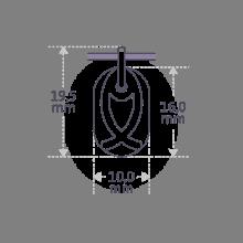 Dimensiones de la medalla de bautismo de ICHTHYS de la colección de joyas infantiles de MIKADO.