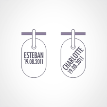 Typographie pour la gravure du pendentif de baptême ICHTHYS de la collection de bijoux pour enfants MIKADO.