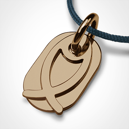 Baptism pendant ICHTHYS in yellow gold 750 mils and blue lagoon cord from the MIKADO children's jewellery collection.