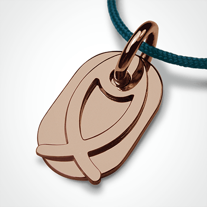 ICHTHYS christening pendant in 750 pink gold by the jewellery collection for children MIKADO.
