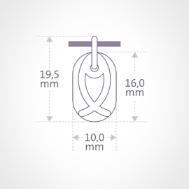 Dimensiones del colgante de bautizo de ICHTHYS de la colección MIKADO.