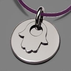 Medalla de bautismo CREO PRINCIPAL en plata 925 milésimas y cordón de chocolate de la colección de joyas para niños MIKADO.