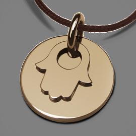 Médaille de baptême I BELIEVE MAIN en or jaune 750 millièmes de la collection de bijoux pour enfants MIKADO.