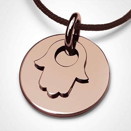 I BELIEVE FATIMA CHAMSA HAND pendant in pink gold by the jewellery collection for children MIKADO.