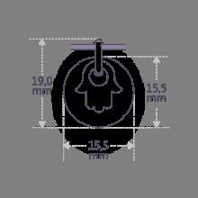 Dimensiones de la medalla de bautismo I BELIEVE MANO DE FATMA de la colección de joyería infantil MIKADO.