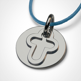 Medalla de bautismo CRUZ DE CREER en plata 925 milésimas y cordón de lavanda de la colección de joyería infantil MIKADO.