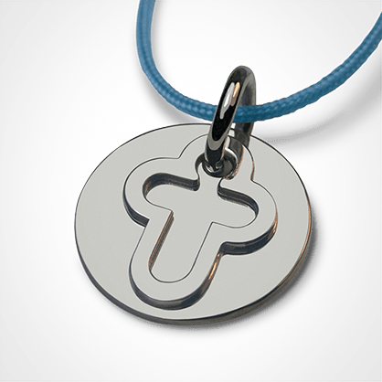 Medal of baptism I BELIEVE CROSS in silver 925 thousandths and lavender cord from the MIKADO children's jewellery collection.