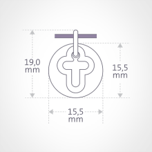 Dimensions of the I BELIEVE CROSS pendant from MIKADO jewellery for kids.