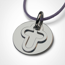 I BELIEVE CROSS pendant in 750 white gold by the jewellery collection for children MIKADO.