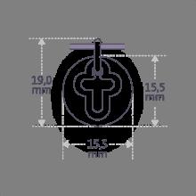 Dimensiones de la medalla de bautismo I BELIEVE CROIX de la colección de joyería infantil MIKADO.