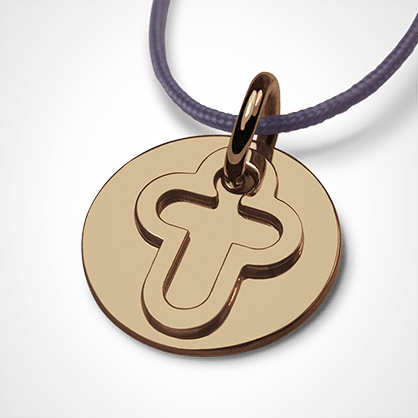 Medalla de bautismo CREO CROIX en oro amarillo 750 milésimas y cordón de lavanda de la colección de joyas para niños MIKADO.