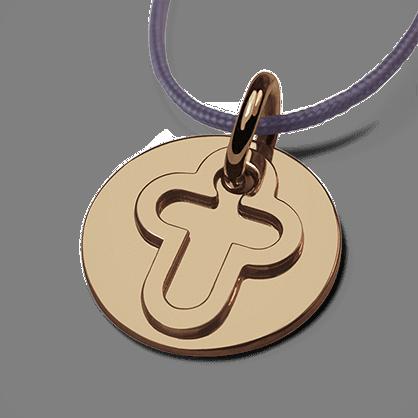 Médaille de baptême I BELIEVE CROIX en or jaune 750 millièmes et cordon lavande de la collection de bijoux pour enfants MIKADO.